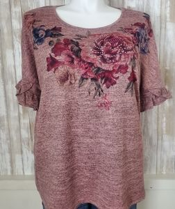 NWOT  Rose Floral Blouse by Seille 2X